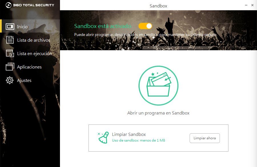 Pantalla de Sandbox de 360 Total Security