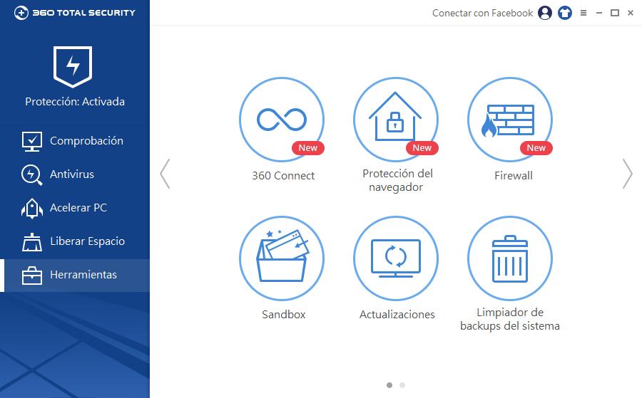 Actualizaciones de encuentra en las Herramientas de 360 Total Security