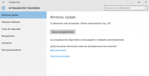 Actualizaciones en Windows 10