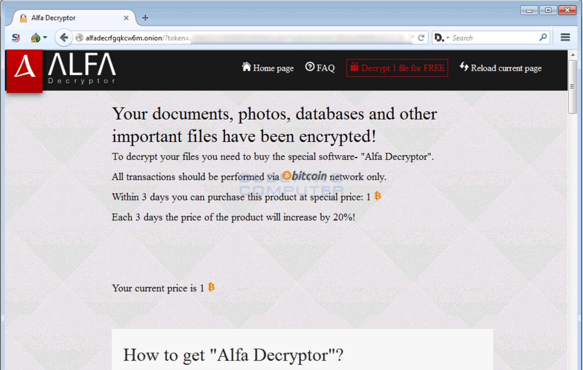 Alfa ransomware Decryptor Page