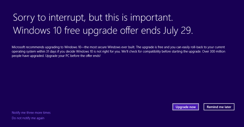 Windows 10 ücretsiz güncelleştirme 29 Temmuzda bitecek