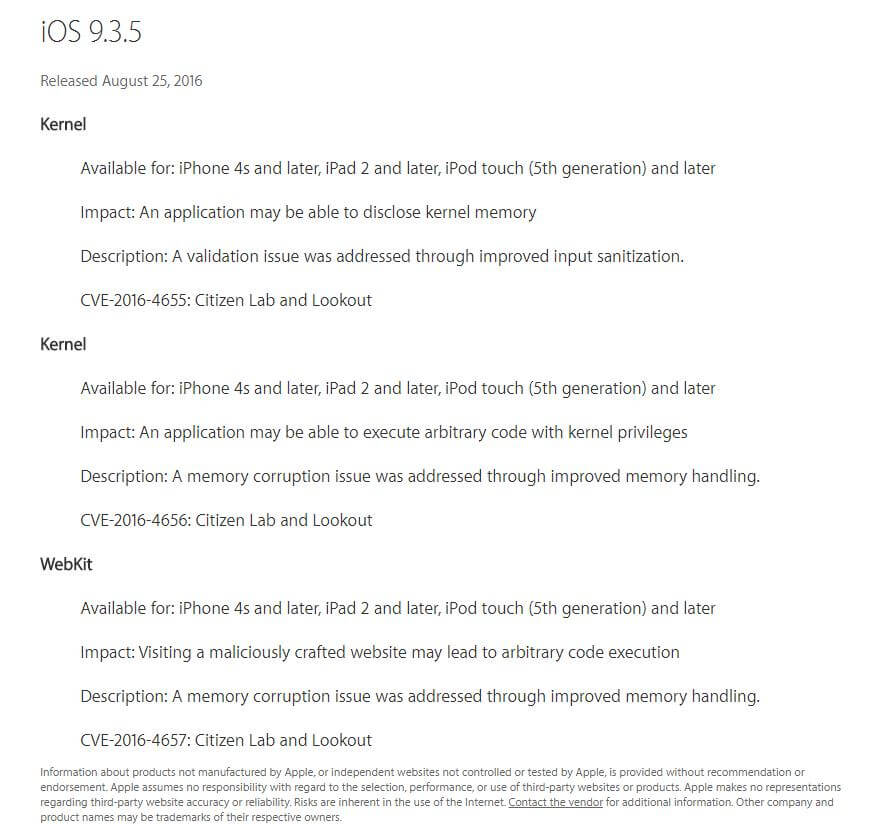 Apple released a patched update, iOS 9.3.5, this Tuesday.