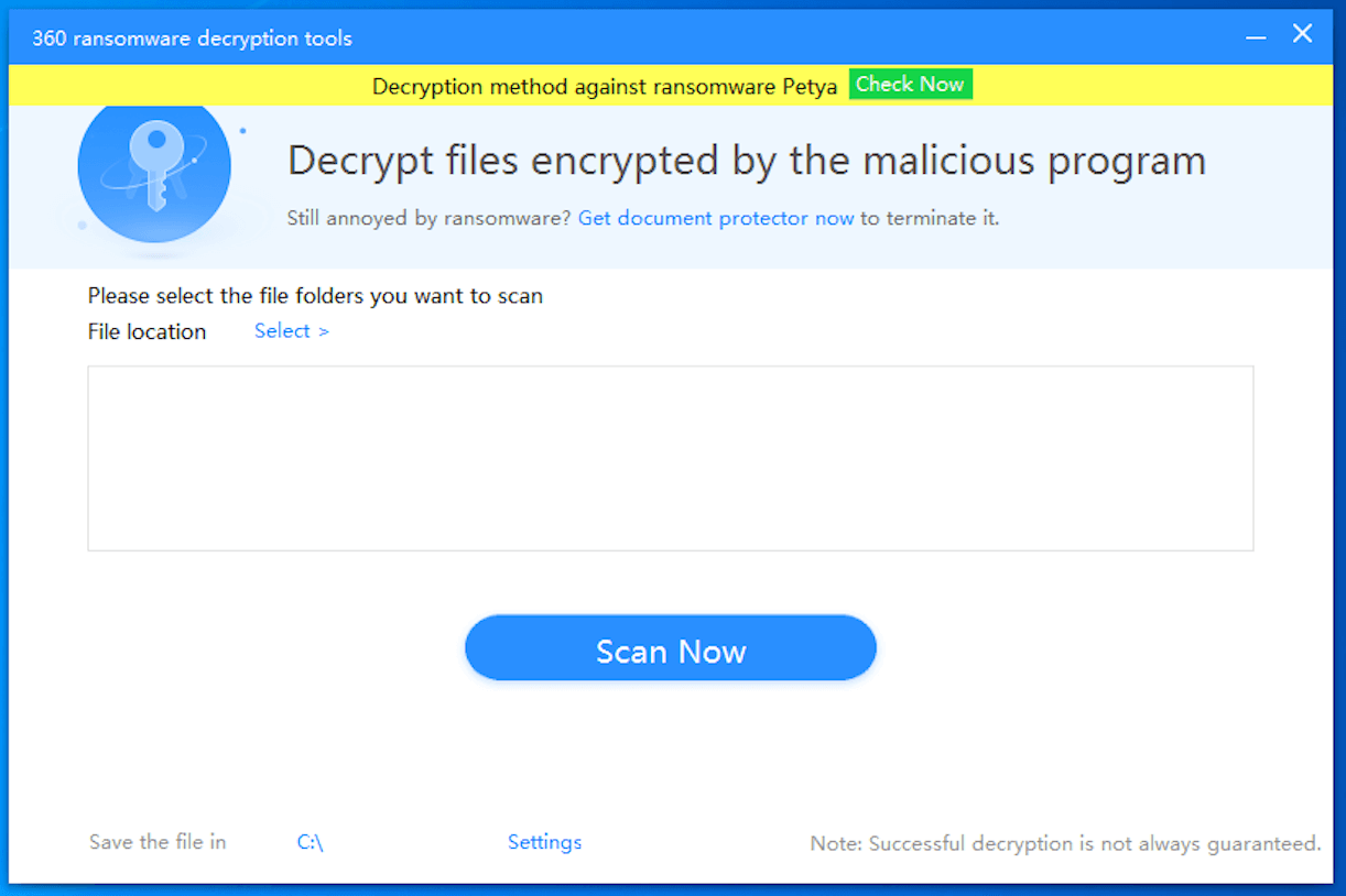 1. Open 360 Ransomware Decryption Tool and click the yellow banner on the top to start the decryption process.