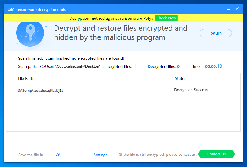 11. Wait until 360 Ransomware Decryption Tool brings your files back. Don't turn off the tool before decryption completes.