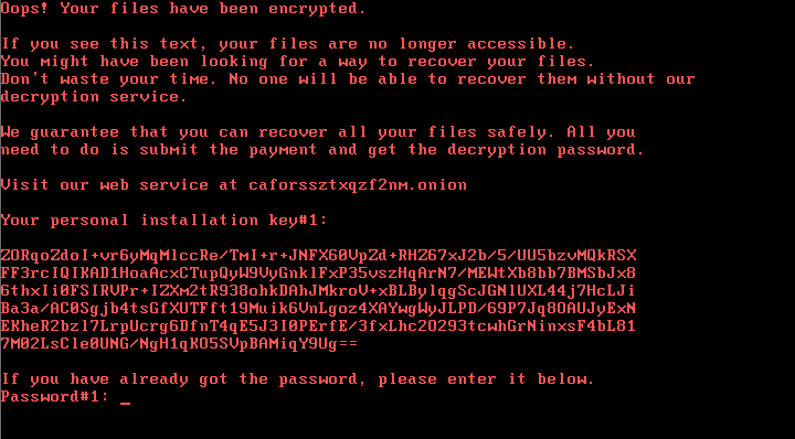 Bad Rabbit ransomware message
