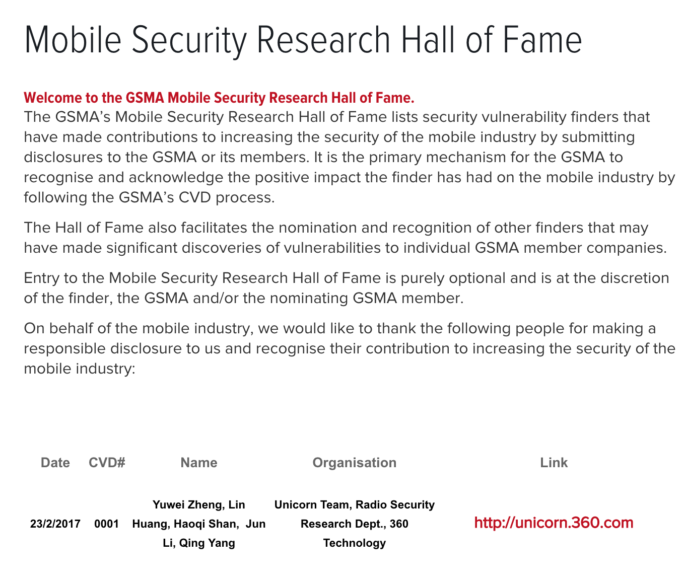 Mobile Security Research Hall of Fame
