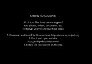 Saturn ransomware message