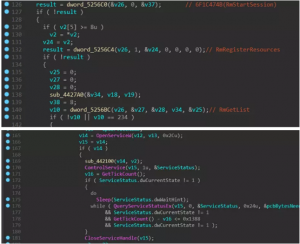 загрузит динамическую библиотеку Rstrtmgr.dll, вызовет функции RmStartSession, RmRegisterResources и RmGetList