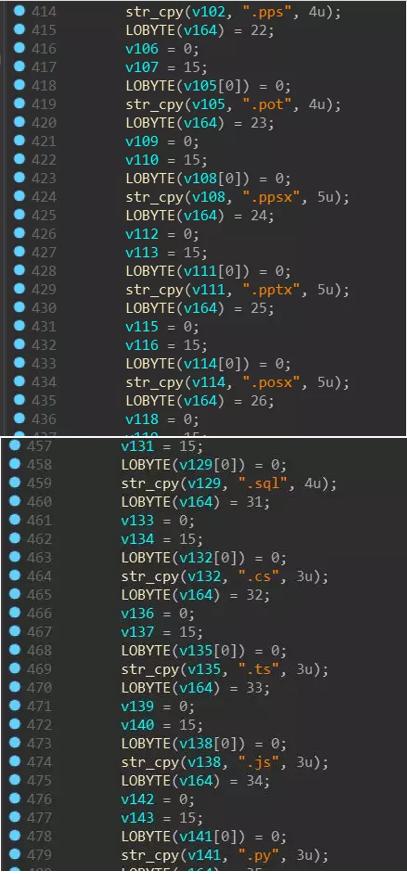 Типы зашифрованных файлов LockerGoga сравнивает файловые суффиксы при шифровании файлов, но мы обнаружили, что все типы файлов шифруются (включая exe, dll и т. Д.) во время фактической отладки, и некоторые файлы могут быть зашифрованы несколько раз.