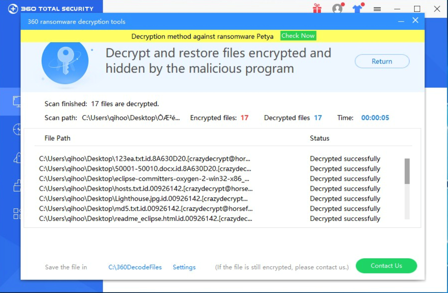 360 Total Security First support decrypting CrazyCrypt 2.1 Ransomware