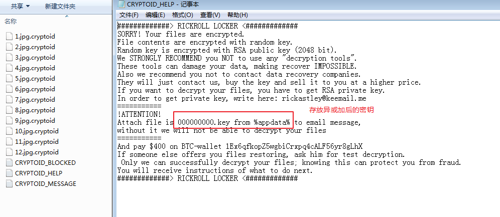Figure 11. Files and ransomware messages encrypted by the Aurora ransomware