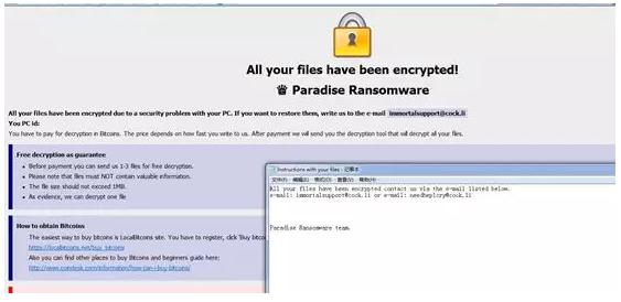 6. Paradise ransomware alert message