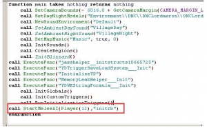The virus inserts a piece of code into the map's war3map.j script to execute the malicious module